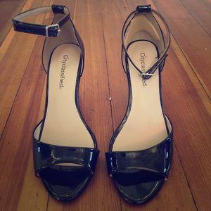 Black patent leather heeled sandals